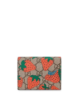 Gg Card Case With Gucci Strawberry Print by Gucci
