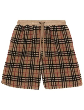 Vintage Check Faux Shearling Drawcord Shorts by Burberry