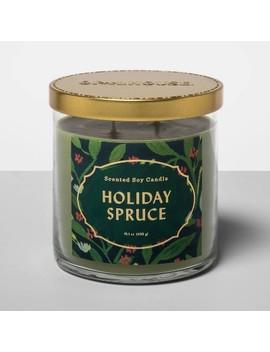 15.1oz Lidded Glass Jar 2 Wick Candle Holiday Spruce   Opalhouse™ by Opalhouse