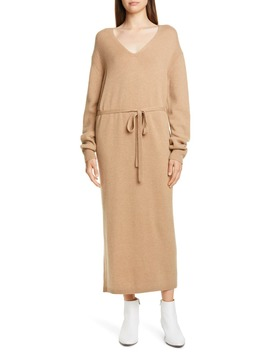 V Neck Long Sleeve Wool & Cashmere Sweater Dress by Vince
