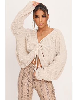 Stone Ruched Front Knitted Jumper by I Saw It First