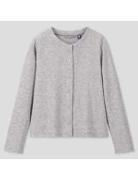 Girls Dry Stretch Crew Neck Long Sleeve Cardigan by Uniqlo