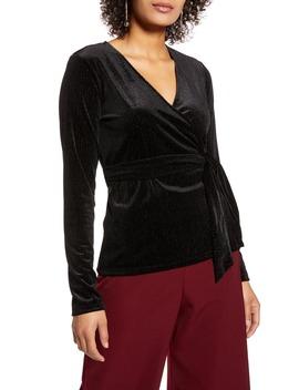 Long Sleeve Velvet Wrap Top by Halogen®