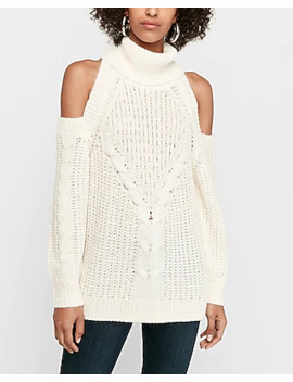 Cable Knit Cold Shoulder Sweater by Express
