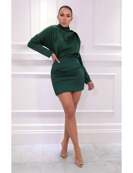 Emerald Satin Draped Mini Dress   Tatiana by Femme Luxe