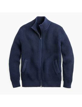 Zip Up Mockneck Sweater In Waffle Cotton by J.Crew