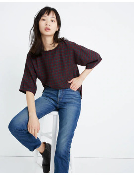 Boxy Tee Top In Plaid by Madewell