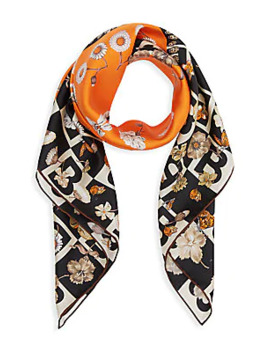 B Motif And Floral Print Silk Square Scarf by Burberry