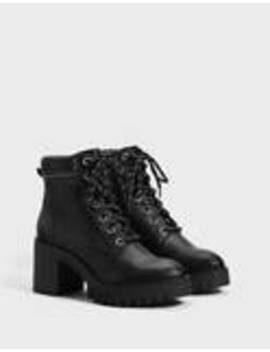 Lace Up High Heel Ankle Boots by Bershka