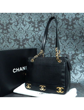 Rise On Vintage Chanel Triple Coco Black Caviar Skin Leather Shoulder Bag #2070 by Chanel