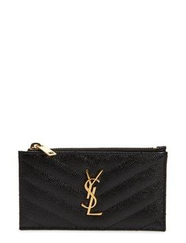 Pebbled Leather Zip Card Case by Saint Laurent