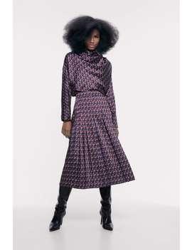Geometric Print Midi Skirt by Zara