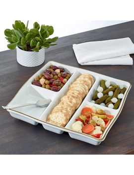 "Multi Section 12"" White Porcelain Appetizer Platter, Walmart Exclusive by Walmart"
