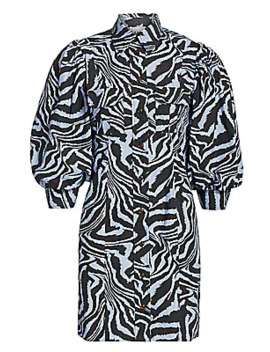 Puff Sleeve Zebra Mini Shirtdress by Ganni