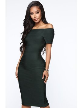 Business Handled Bandage Midi Dress  Hunter Green by Fashion Nova