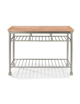 French Quarter Aged White Wash Natural Kitchen Island With Butcher Block Top by Homestyles