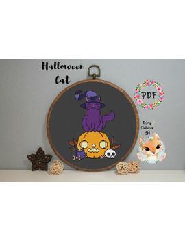 Halloween Cross Stitch Pattern, Pumpkin Cross Stitch Pattern, Cat, Stitch, X Stitch, Chart, Pdf, Instant Download, Modern Embroidery by Etsy