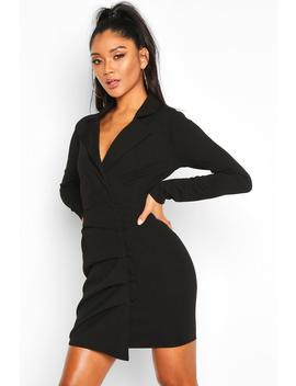 Button Detail Wrap Blazer Dress by Boohoo