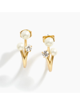 Pearl And Crystal Jacket Earrings by J.Crew