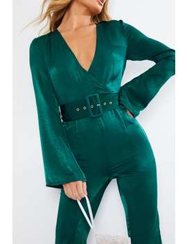 Billie Faiers Green Satin Shimmer Jumpsuit by In The Style