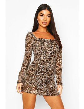 Petite Woven Volume Sleeve Leopard Ruched Dress by Boohoo
