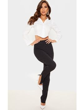 Black Pinstripe Split Ankle Skinny Pants by Prettylittlething