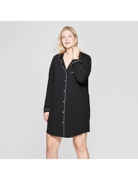 Women's Plus Size Beautifully Soft Notch Collar Nightgown   Stars Above™ Black by Stars Above