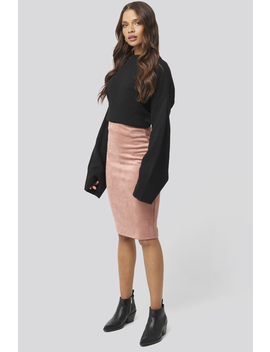 Faux Suede High Waist Skirt Roze by Na Kd