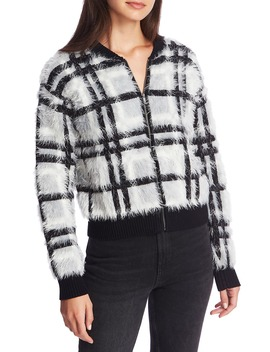 Zip Front Plaid Eyelash Sweater Jacket by 1.State