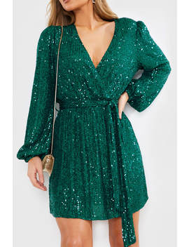Billie Faiers Green Sequin Wrap Balloon Sleeve Dress by In The Style
