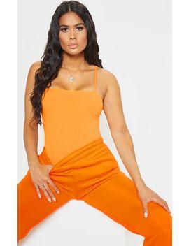 Orange Rib Strappy Sleeveless Bodysuit by Prettylittlething
