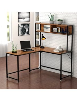 Tribesigns L Shaped Desk With Storage, Corner Desk With Hutch For Home Office (Walnut) by Tribe Signs