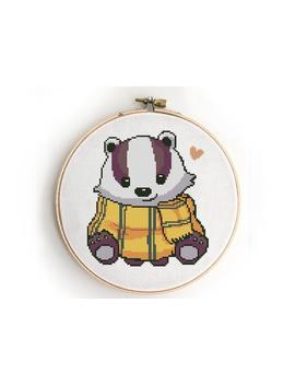 Cute Badger In Scarf Counted Cross Stitch Pattern    Cross Stitch Pattern (Digital Format   Pdf) by Etsy