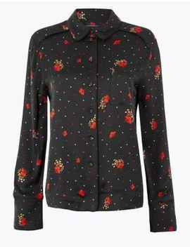 Floral Print Satin Shirt by Marks & Spencer