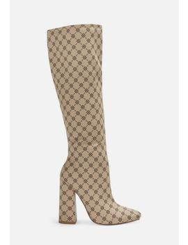 Nude Printed Over The Knee Block Heel Boots by Missguided