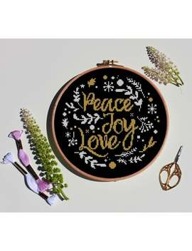 Peace Love Joy Cross Stitch Noel Christmas Wreath Floral Flower Tree Easy Calighraphy Font Easy  Cross Stitch Pattern (Digital Format   Pdf) by Etsy