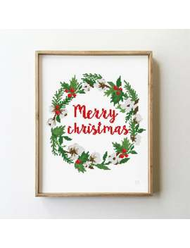 Merry Christmas Counted Cross Stitch Pattern   Cross Stitch Pattern (Digital Format   Pdf) by Etsy