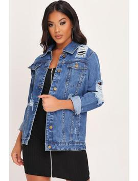 Mid Wash Distressed Long Line Denim Jacket by I Saw It First