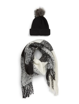 Faux Fur Pom Beanie & Plaid Scarf Set by Bp.