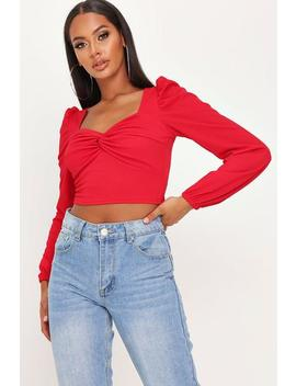 Red Scuba Crepe Twist Front Milk Maid Crop Top by I Saw It First