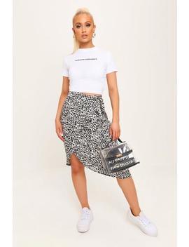 Black/White Leopard Print Wrap Midi Skirt by I Saw It First