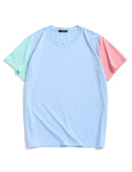 Zaful Paneled Color Block Short Sleeves T Shirt   Day Sky Blue S by Zaful