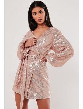 Rose Gold Sequin Wrap Balloon Sleeve Mini Dress by Missguided