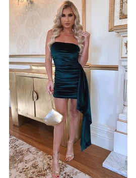Billie Faiers Green Velvet Drape Bandeau Mini Dress by In The Style