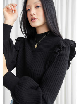 Frilled Mock Neck Sweater by & Other Stories