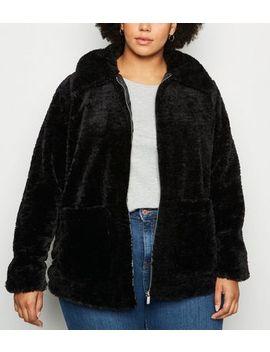 Curves Black Teddy Jacket by New Look
