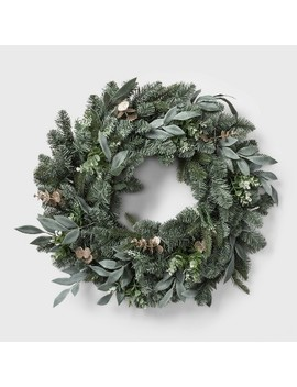 "28"" Led Battery Operated Mixed Pretty Gold Eucalyptus Wreath   Wondershop™ by Wondershop"