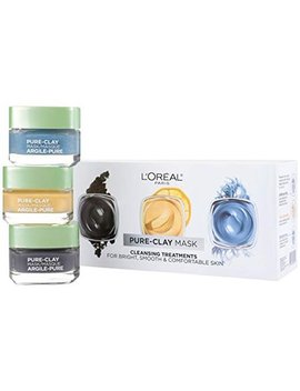 L'oreal Paris Skin Care Pure Clay Face Mask Set Includes Face Mask With Charcoal, Face Mask With Yuzu Lemon And Face Mask With Seaweed, Holiday Gift Set, 1 Kit by L'oreal Paris