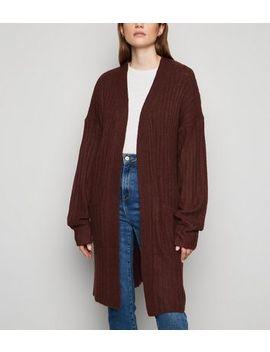 Urban Bliss Dark Brown Ribbed Longline Cardigan by New Look
