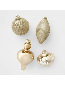 10ct Glass Assorted Christmas Ornament Set Champagne & Gold   Wondershop™ by Shop This Collection